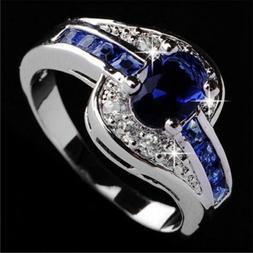 Women Blue Sapphire White Gold Filled Engagement Ring Size 7