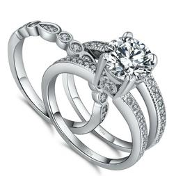 Women's 925 Sterling Silver Round 2.18 CTW CZ Bridal Engagem