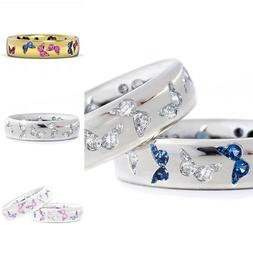 Women's Charming Engagement Rings Romance Jewelry Butterfly