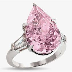 Women's Exaggerated Pink Zirconia Crystal Bride Engagement R