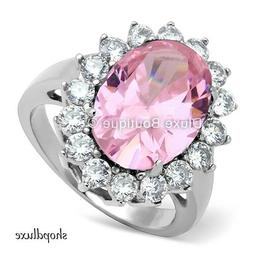 WOMEN'S HALO PINK ROSE AAA CZ STAINLESS STEEL ENGAGEMENT FAS