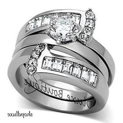 Women's Round Cut Silver Stainless Steel AAA CZ Wedding Ring