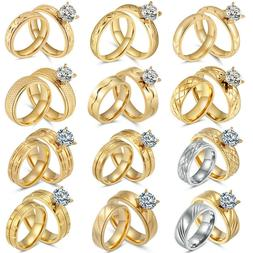 Women's Stainless Steel 18K Gold Plated CZ Engagement Weddin