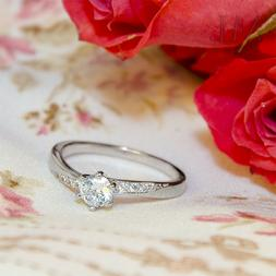 Womens Delicate 3/4 CT Promise Engagement RING For Her Silve
