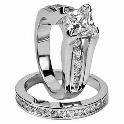 Womens Stainless Steel Princess Cut Wedding Engagement Ring