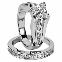 Womens Stainless Steel Princess CZ Wedding Engagement Ring S