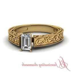 Yellow Gold Solitaire Engraved Diamond Engagement Ring With